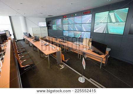 Abu Dhabi, United Arab Emirates - 04 Jan, 2018: Control Room Of The The Yasmina Circuit In Abu Dhabi