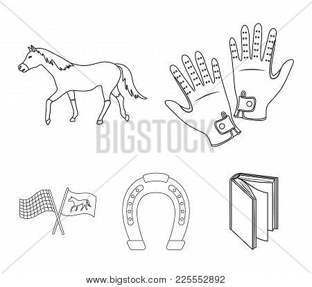 Race, Track, Horse, Animal .hippodrome And Horse Set Collection Icons In Outline Style Vector Symbol