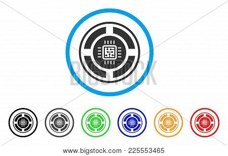 Roulette Processor Icon. Vector Illustration Style Is A Flat Iconic Roulette Processor Black Symbol
