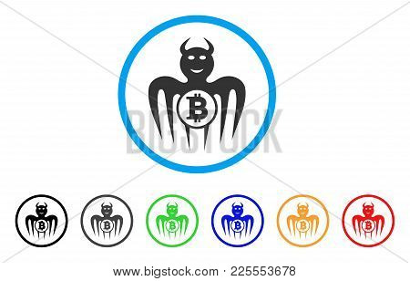 Bitcoin Happy Spectre Devil Icon. Vector Illustration Style Is A Flat Iconic Bitcoin Happy Spectre D
