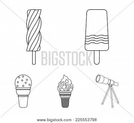 Ice Cream On A Stick, In A Waffle Cone And Other Species. Ice Cream Set Collection Icons In Outline
