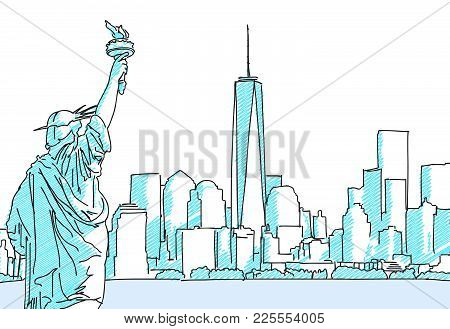 New York Cityscape Sketch. Hand Drawn Vector Illustration. Business Travel And Tourism Concept With