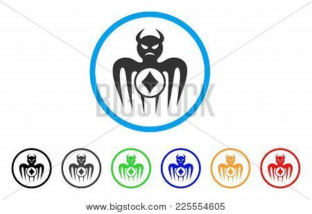 Gambling Spectre Devil Icon. Vector Illustration Style Is A Flat Iconic Gambling Spectre Devil Black