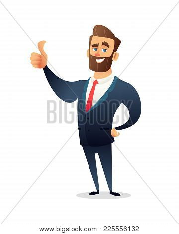 Successful Beard Businessman Character Gives Thumb Up. Successful Man, Smile, Finger Agreement. Busi