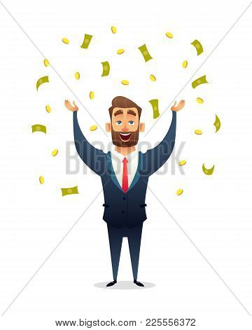 Successful Beard Businessman Character Celebrates Success, Standing Under Money Rain Banknotes And C