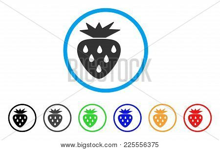 Strawberry Icon. Vector Illustration Style Is A Flat Iconic Strawberry Black Symbol With Grey, Yello