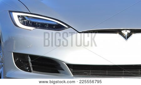 Toijala, Finland - September 24, 2017: Close Up Detail Of A Silver Tesla Model S Electric Car Headli