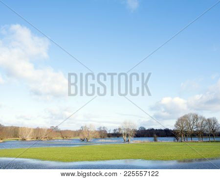 Flooded Flood Plains Of River Ijssel Near Zalk Between Kampen And Zwolle In The Netherlands