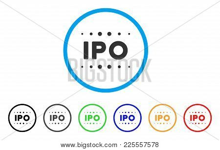 Ipo Caption Icon. Vector Illustration Style Is A Flat Iconic Ipo Caption Black Symbol With Gray, Yel