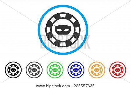 Private Mask Casino Chip Icon. Vector Illustration Style Is A Flat Iconic Private Mask Casino Chip B