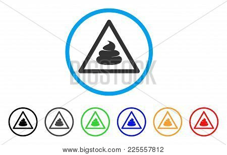 Shit Warning Icon. Vector Illustration Style Is A Flat Iconic Shit Warning Black Symbol With Gray, Y