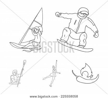 Snowboarding, Sailing Surfing, Figure Skating, Kayaking. Olympic Sports Set Collection Icons In Outl