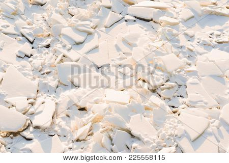 Abstract Texture Of Big Splinters And Pieces Of Ice And Snow Of Frozen Water For A Natural Backgroun