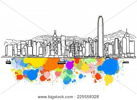 Colorful Hong Kong Skyline Sketch. Hand Drawn Vector Illustration, Paint Splatter Color Isolated On