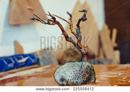 Dried Tree With Roots On The Table As Decoration