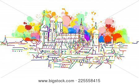 Colorful Munich Skyline Sketch. Hand Drawn Vector Illustration, Paint Splatter Color Isolated On Whi