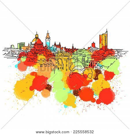 Colorful Leipzig Skyline Sketch. Hand Drawn Vector Illustration, Paint Splatter Color Isolated On Wh