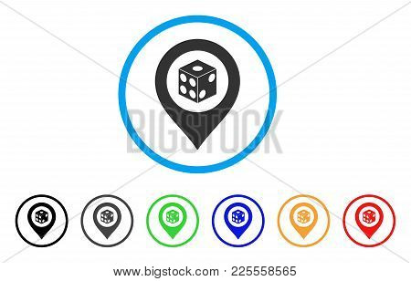 Dice Map Pointer Icon. Vector Illustration Style Is A Flat Iconic Dice Map Pointer Black Symbol With