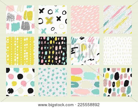 Hand Drawn Textures Made With Ink. Isolated. Vector Illustration. Pastel Hand Drawn Texture.