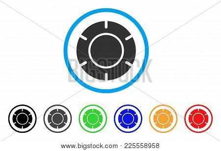Casino Chip Icon. Vector Illustration Style Is A Flat Iconic Casino Chip Black Symbol With Grey, Yel