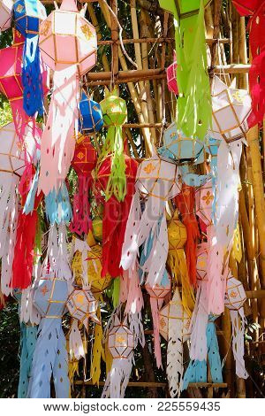 Colorful Flag Of Tung Lanna Lamps In Northern Of Thailand
