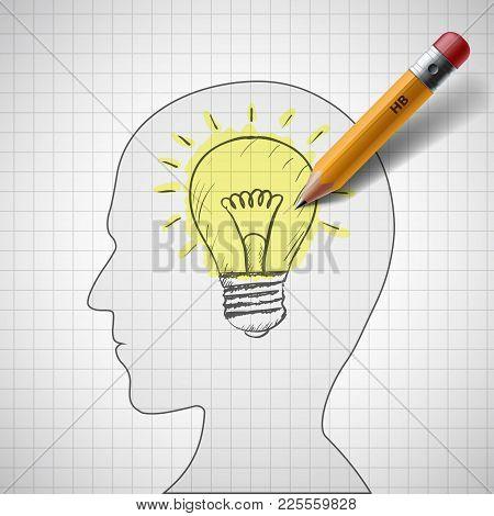 Pencil Draws A Light Bulb In Human Head. Stock Vector Illustration.