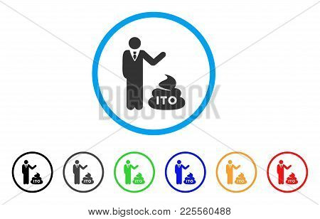 Businessman Show Ito Shit Icon. Vector Illustration Style Is A Flat Iconic Businessman Show Ito Shit