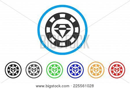 Ruby Casino Chip Icon. Vector Illustration Style Is A Flat Iconic Ruby Casino Chip Black Symbol With