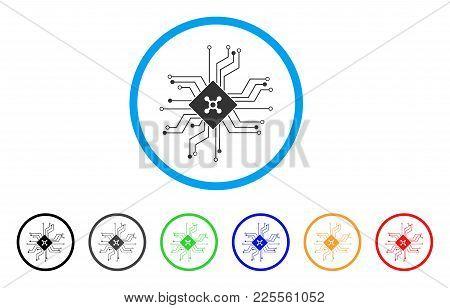 Digital Roulette Circuit Icon. Vector Illustration Style Is A Flat Iconic Digital Roulette Circuit B