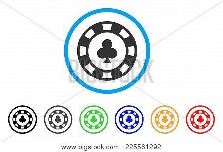 Clubs Casino Chip Icon. Vector Illustration Style Is A Flat Iconic Clubs Casino Chip Black Symbol Wi