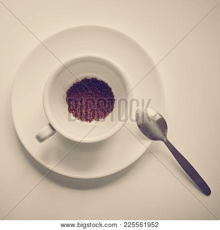 Top View Of Granulated Instant Coffee In White Cup, Image With Warm Vintage Toning