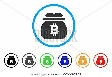Bitcoin Money Bag Icon. Vector Illustration Style Is A Flat Iconic Bitcoin Money Bag Black Symbol Wi