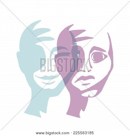 Multiple Personality. Mask Of A Man Vector Illustration. Confrontation Person.