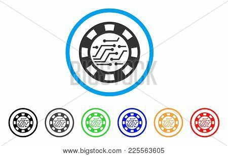 Circuit Casino Chip Icon. Vector Illustration Style Is A Flat Iconic Circuit Casino Chip Black Symbo