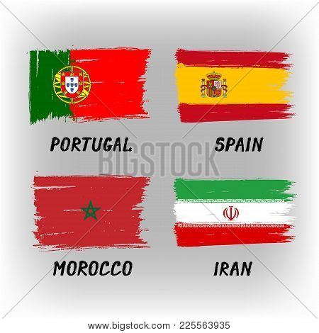 Set Of 4 Flags - Portugal Spain Morocco Iran