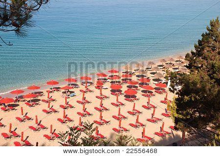 'Makris Gialos' and 'Platis Gialos' beach at Argostoli of Kefalonia island in Greece poster