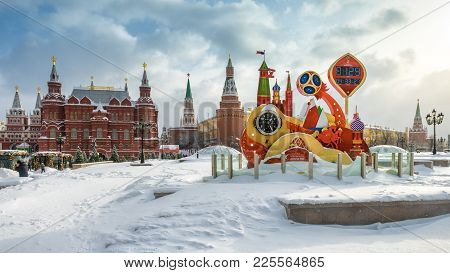 Moscow, Russia - February 5, 2018: Fifa World Cup 2018 Countdown Clock At The Heart Of Moscow In Win