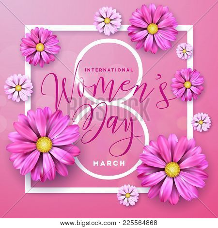 Happy Womens Day Floral Greeting Card Design. International Female Holiday Illustration With Flower