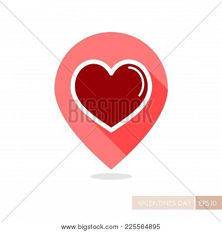 Heart Pin Map Icon, Love Symbol Valentine Day. Map Pointer. Vector Illustration, Romance Elements. S