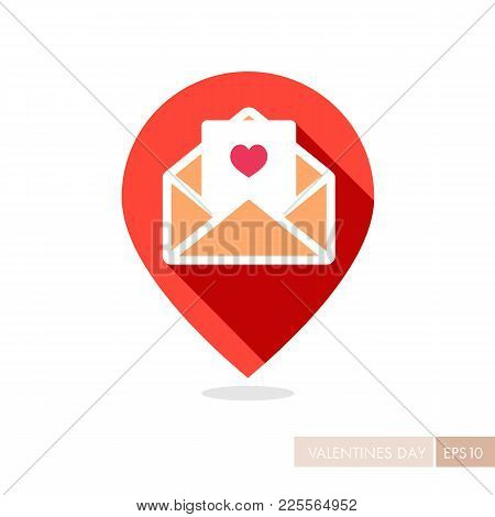 Happy Valentine Day Card In Envelope Pin Map Icon. Map Pointer. Heart Sign, Symbol Background Wallpa