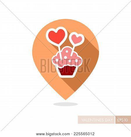 Cupcake With Two Hearts Pin Map Icon. Valentines Day Symbol. Map Pointer. Vector Illustration, Roman