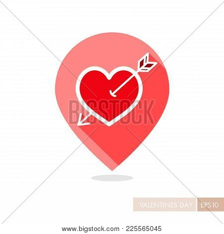 Arrow Heart Pin Map Icon. Love Sign. Valentines Day Symbol. Map Pointer. Vector Illustration, Romanc
