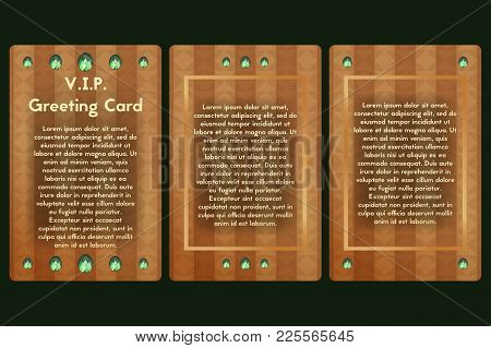 Greeting Card With Green Glass Stones. Postcard Brown With Emerald. Vector Template For Vip Invitati