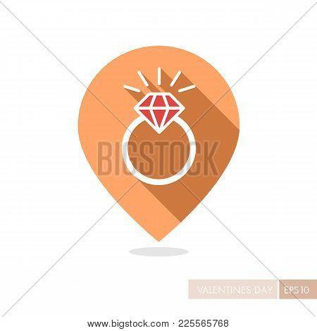Wedding Ring With A Diamond Pin Map Icon. Valentines Day Symbol. Map Pointer. Vector Illustration, R