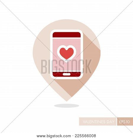 Technology Heart Smartphone Mobile Phone Romantic Telephone Call. Valentines Day Pin Map Icon, Doodl