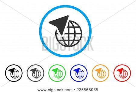 Global Freelance Rounded Icon. Style Is A Flat Grey Symbol Inside Light Blue Circle With Bonus Color
