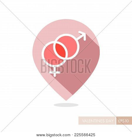 Male And Female Pin Map Icon Vector Symbols. Gender Sign. Valentines Day. Map Pointer. Vector Illust