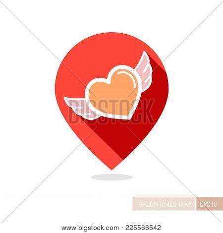 Heart With Wings Pin Map Icon. Valentines Day Symbol. Map Pointer. Vector Illustration, Romance Elem