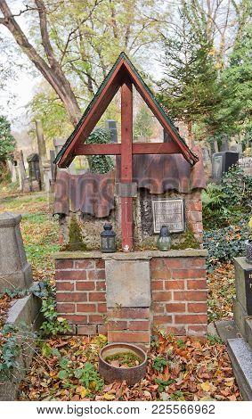 Prague, Czech Republic - November 4, 2017: Tomb Of Bohumir Cyril Petr (1905-1976) On Olsany Cemetery