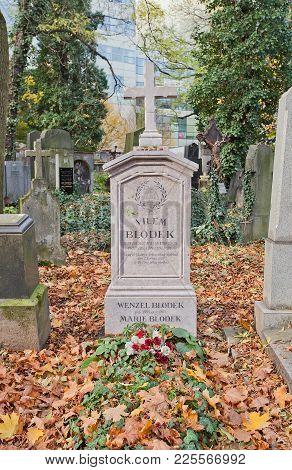 Prague, Czech Republic - November 4, 2017: Tomb Of Vilem Blodek (1834-1874) And His Relatives On Ols